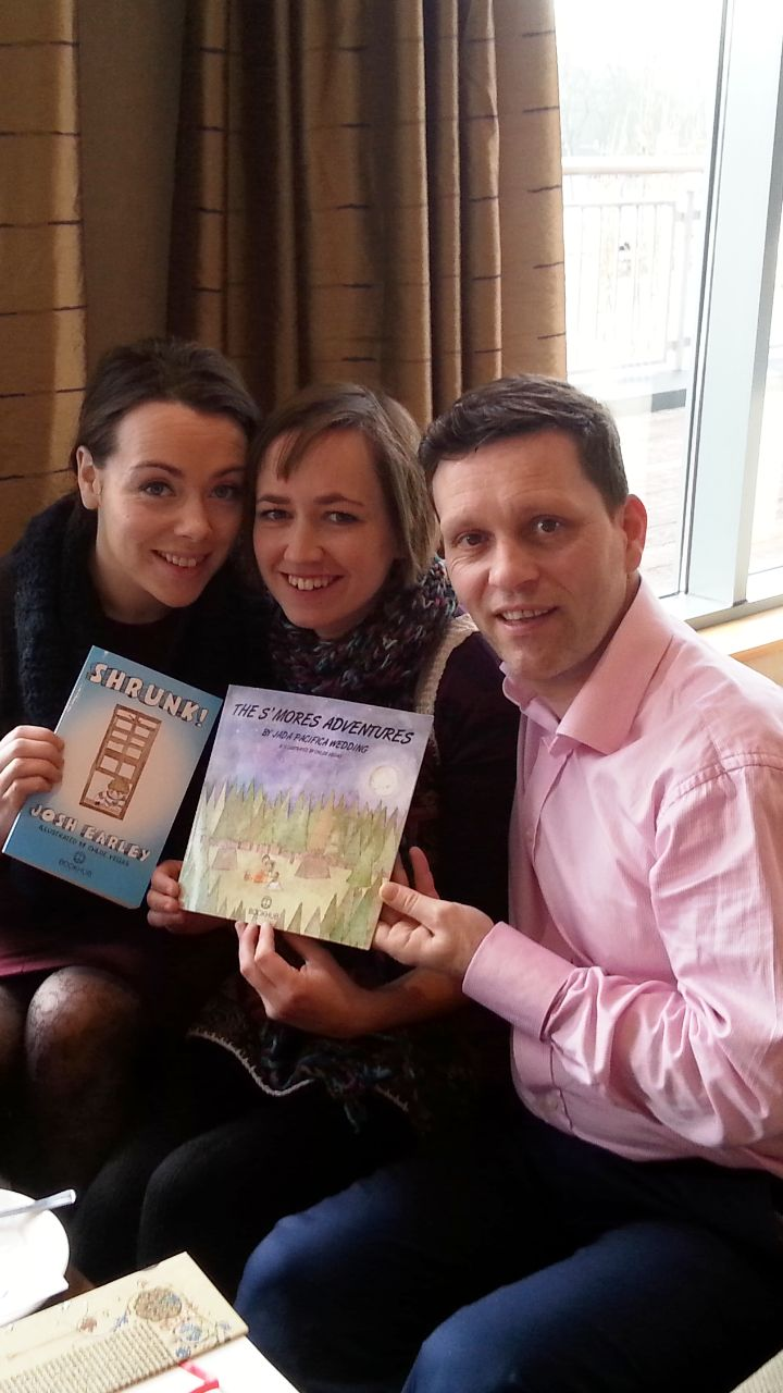 Fellow Book Hub Publishing authors, Louise and Rose with Book Hub Publishing's MD, Dr. Niall McElwee pre launch.