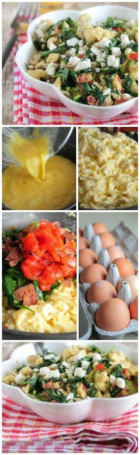 Green Eggs & Ham Scramble Mediterranean Style.  Favorite breakfast!
