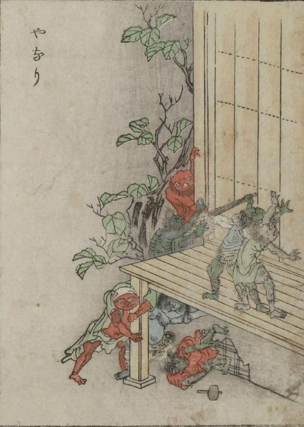 """Yanari -- Little demons that produce the creaking sounds heard in old houses. From The Kaibutsu Ehon (""""Illustrated Book of Monsters""""), an 1881 book featuring woodblock prints of yōkai, or creatures from Japanese folklore."""