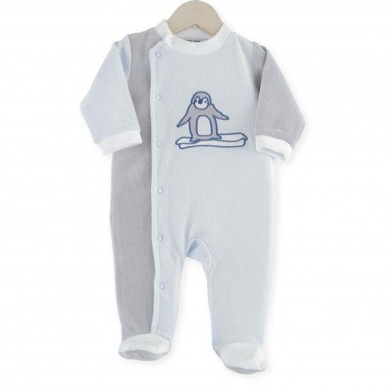 Pijama Pingüinos #pijama #bebe #niño #terciopelo #azul #gris #pinguinos #kinousses