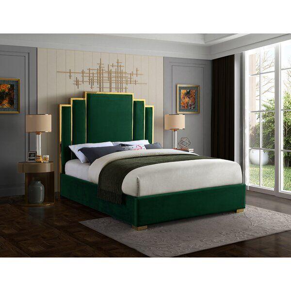 Amaia Velvet Upholstered Platform Bed Bedroom Bed Design