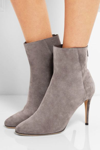 Heel measures approximately 85mm/ 3.5 inches Gray suede Zip fastening along back Made in Italy