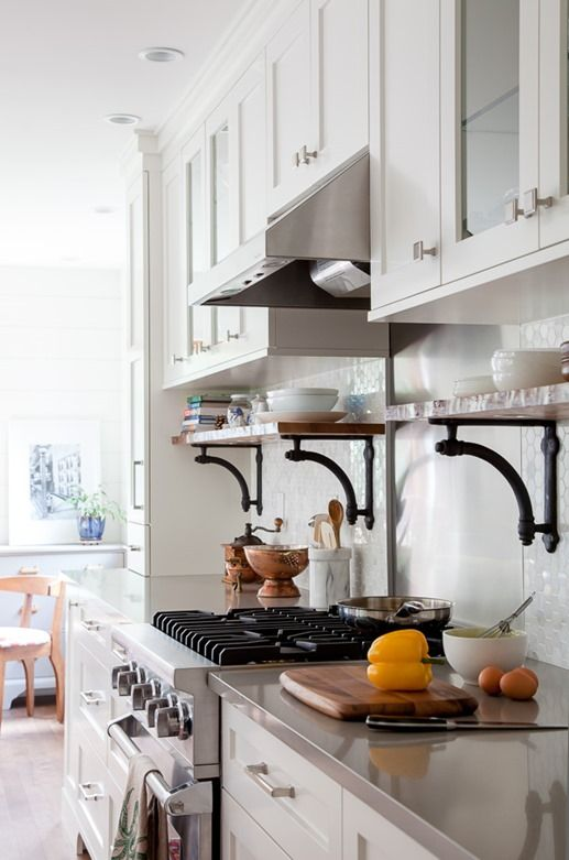 perfect combo traditional upper cabinets with open shelving under this is dream kitchen material - Kitchen Cabinet Shelving