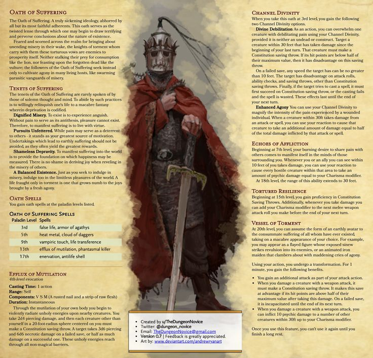 Paladin - Oath of Suffering | Macabre tenets for those who truly delight in… | Dungeons and ...