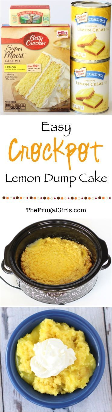 Crockpot Lemon Dump Cake Recipe!  This easy dessert is SO delicious... just dump it in the Slow Cooker and walk away!!