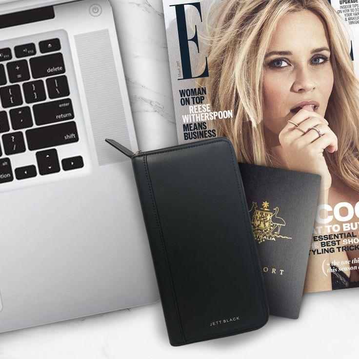 Jett Black Leather Travel Wallet, Passport, Organiser - Take Off in Style!