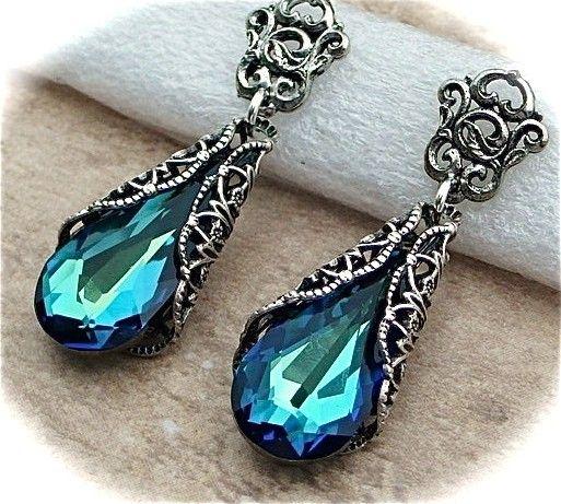 Bermuda Blue Crystal Earrings, Peacock Earrings, Antiqued Silver Victorian Vintage Style Filigree Teardrops Bridal, Bridesmaids Wedding. $38.00, via Etsy.