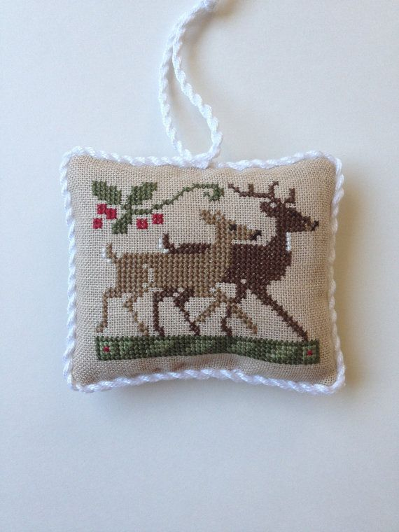 Completed primitive cross stitch Two by Two Deer by Rishastitchery