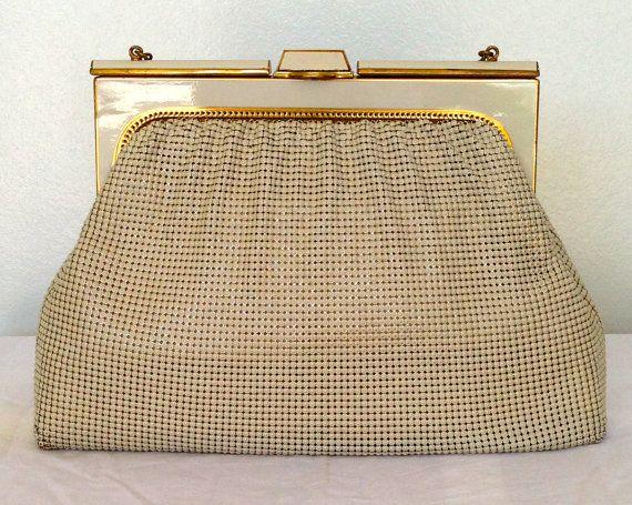 Vintage Oroton ivory handbag / evening bag / Glomesh / Whiting & Davis / alumesh / micromesh