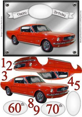 Classic Red Mustang Decoupage Card on Craftsuprint designed by Julene Harris - Red hot and ready to go! Suitable for any age. Sheet includes 60th and 70th sentiment tags as well as a blank sentiment tag and additional red numbers to make your own. Please click on my name to view more of my designs. - Now available for download!