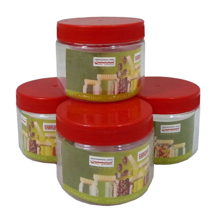 Buy #Sunpet 200 ml Red Top Plastic Food Storage Jars Canisters (4 Pack) - Storage Jars and more #Homeware, #Kitchenware and #Cookware products at Popat Stores. #StorageJars