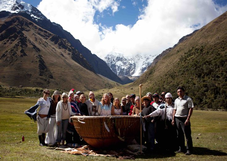 White Eagle and Grandmother Drum with the Qero in the Sacred Valley of Peru, Apu Salcantay