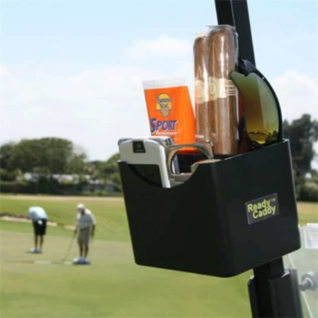 Ready Caddy - Portable Golf Cart OrganizerClamp on caddy for rangefinders, Sunglasses, Cell Phones, GPS's, Cigars, Lighters & moreInstant access to all your golfing accessoriesNO MORE FUMBLING AROUND FOR ALL YOUR ACCESSORIESThe perfect golf companion for yourself and a great gift for all golfers.Includes a two-compartment caddy & 3 clamps: 3/4, 1 & 1 1/4 inch.Fits golf carts with square roof posts.Fits golf carts with square roof posts.Can be used with windshield up...