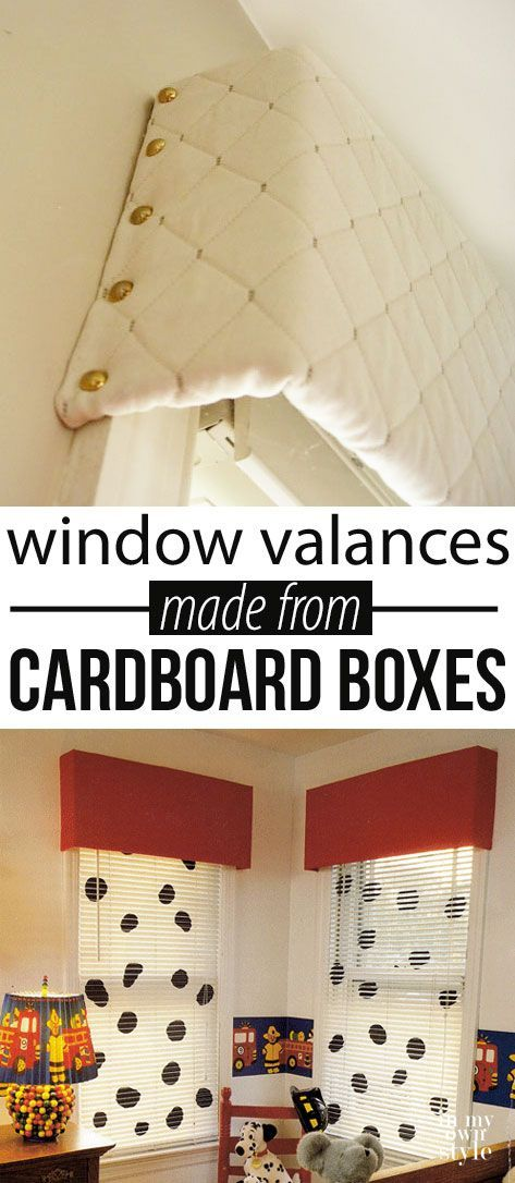 How to make a window valance using the cardboard from boxes. Budget friendly window treatments for your decor budget friendly home decor #homedecor #decor #diy