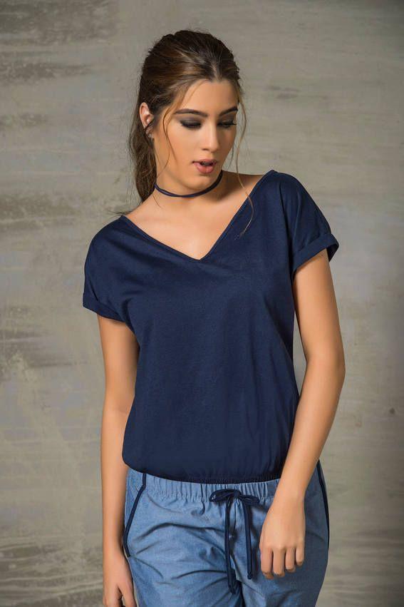 996e7ff0e Camiseta Manga Corta Azul | MODISTERIA en 2019 | Ropa de moda, Ropa ...