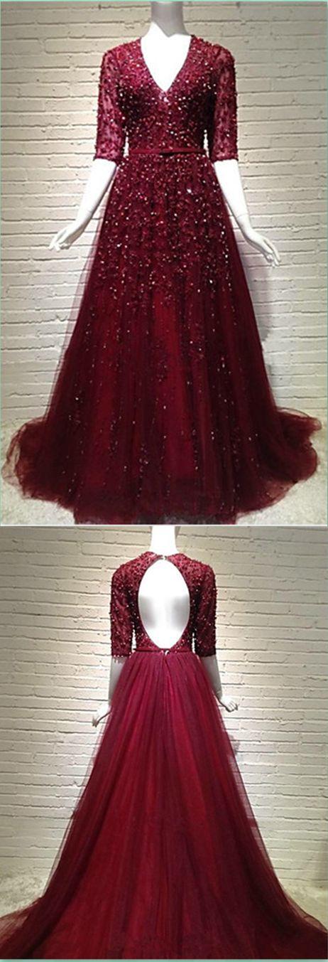 Half Sleeve A-Line Prom Dress,Long Prom Dresses,Charming Prom Dresses,Evening Dress Prom Gowns, Formal Women Dress,prom dress