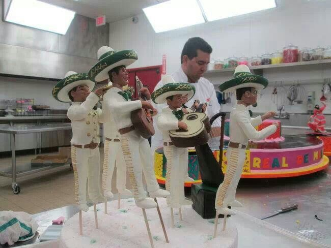 Cake Boss, Buddy Valastro and his team construct a Mariachi cake.  Pinned from Cake Boss TLC Facebook page 1-6-14.