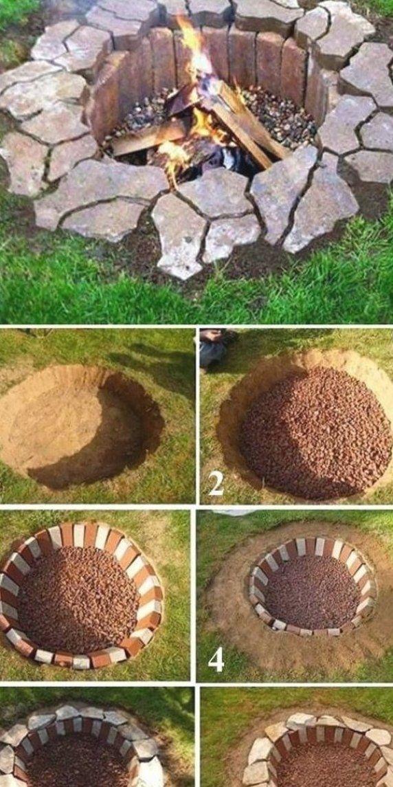 Inground Pool With Fire Pit : inground, Inground, Brick, Stone, Firepit, Backyard, Landscaping,, Garden,, Landscaping, Designs