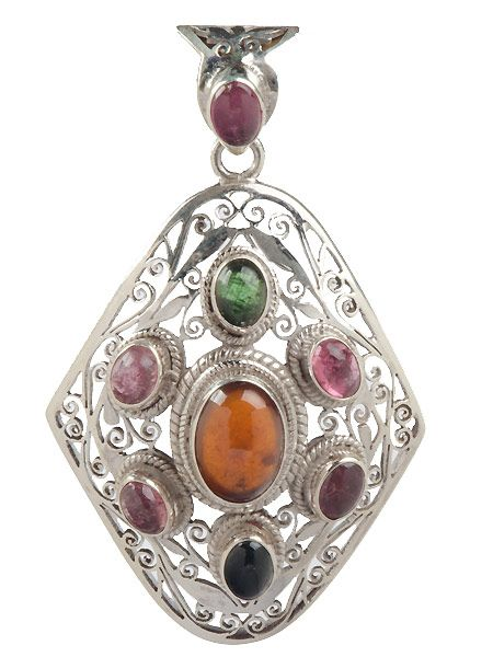 Stunning semi precious stone inlaid silver pendant which has been crafted by hand in Nepal. This pendant is guaranteed 925 silver. Tourmaline stone