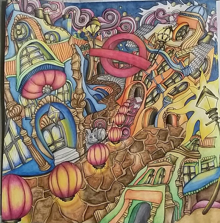 The Magical City Adult Coloring Book Inktense Pencils Activated With Water Colored By Dayna Brown