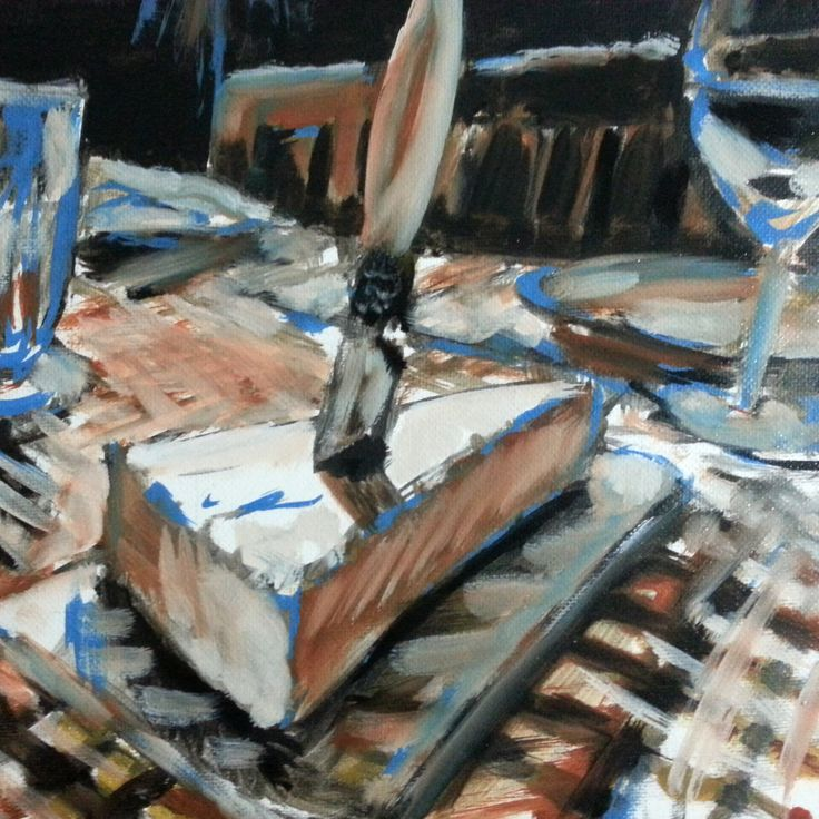 Painting by Anne - 2016 Work in progress - French cheese and wine on a table on a terrace. A sunny Sunday afternoon.