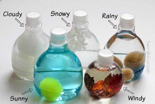 Weather sensory bottles // via Twodaloo