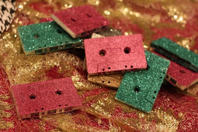 Glitter Covered Cassette Tapes