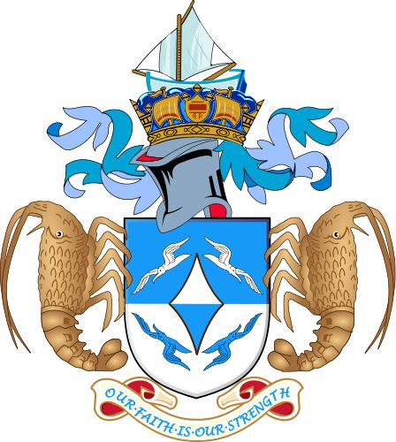 Coat of arms of Tristan da Cunha. Tristan is a remote group of islands in the south Atlantic with a population of under 300. It is part of a British Overseas Territory along with Saint Helena and Ascension Island.