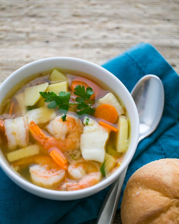 Fish and #Shrimp #Soup.  A centuries old Russian recipe, made easy @Natashas Kitchen