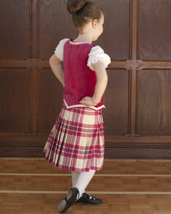 Kilt with raspberry vest & white socks from the back #macgregor #pink #tartan