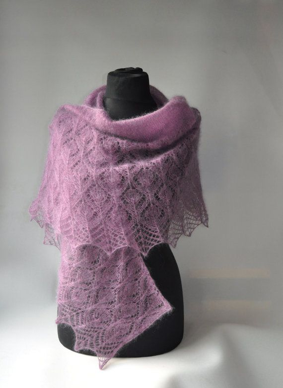 HANDMADE. READY TO SHIP.  Gorgeous shawl with lace pattern, made of high-quality super kid mohair (Italian yarn). Shawl is delicate, soft and very