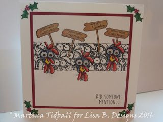 Handmade card by Martina Tidball. Hobby Art Daryl The Quirky Turkey and The Holly & The Ivy stamp sets.