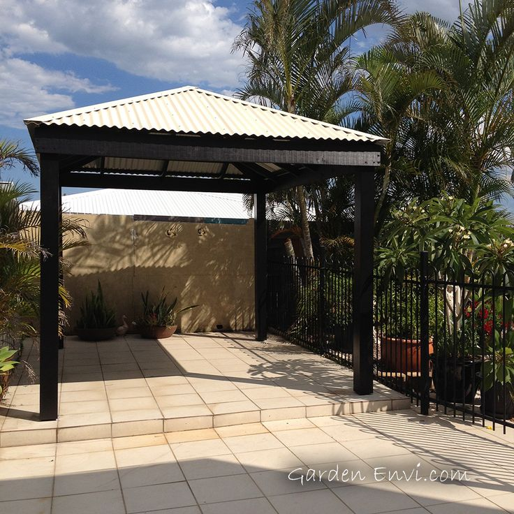 High Quality Black Gazebo With Colorbond Metal Roof