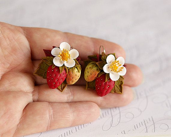 Strawberry blossom earrings. Clay floral berry earrings. White flowers, red strawberries olive green leaves. Polymer clay art  jewelry.