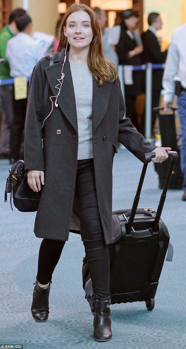 On the move: Actress Sarah Bolger landed in Vancouver on Monday with no makeup on