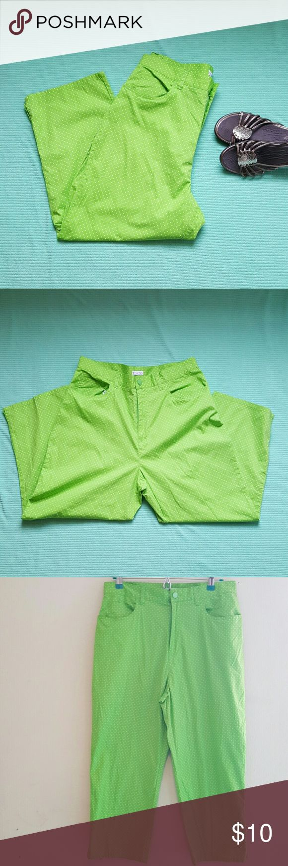 "Polkadots Capri Pants 5 pockets Lime green pants with white polkadots.  Stretch  97% cotton 3% spandex By Carolina Blues 34.5"" long   ??Bubdle for savings. ??I welcome offers using the offer button on anything over $8 Carolina Blues Pants Capris"
