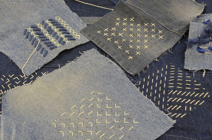 workshop Sashiko, japans borduren op denim Kunstkudde winter 2015 Textielmuseum