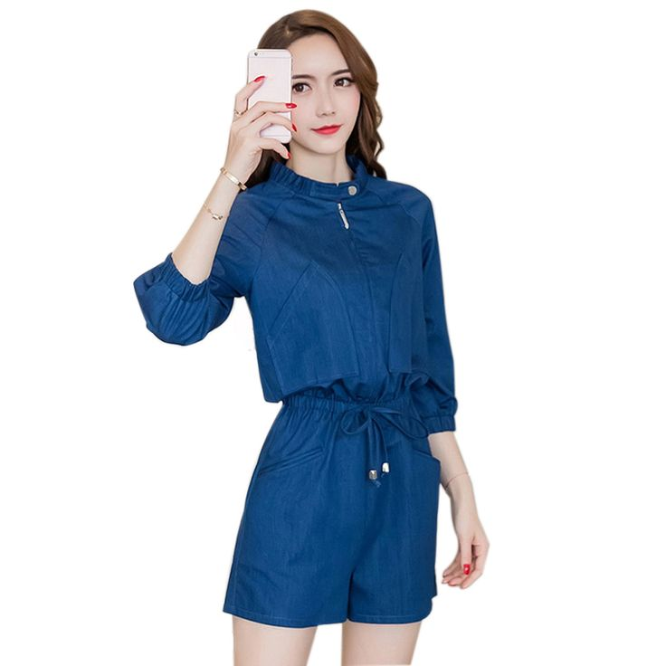 Women Fashion Three Quarter Sleeve Jumpsuits Denim Overalls Short Pockets Design Ladies Rompers Casual Playsuits Blue S-XL