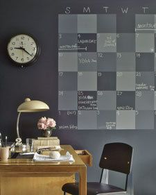 This calendar would be way cool with chalkboard paint. Use it as a family center planner by giving everyone a different color chalk for their events. : Ideas, Chalkboards Wall Calendar, Offices, Home Office, Chalkboards Paintings, Chalkboard Paint, Chalk Boards, Chalkboards Calendar, Wall Calendars