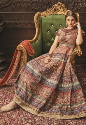 Digital gedruckte Abaya Art-Kunst-Silk Anzug in Multicolor