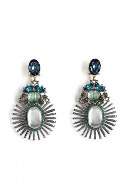 I LOVE THESE EARRINGS!!!!    Anton Heunis | Green And Blue Spiked Pendant Earrings by Anton Heunis