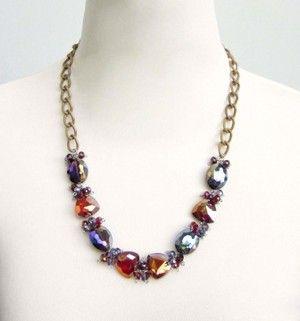 Handmade Jewelry RED PURPLE CRYSTAL GLASS FASHION STATEMENT NECKLACE by Eji Jewelry #handmadejewelry #jewelrydesigner