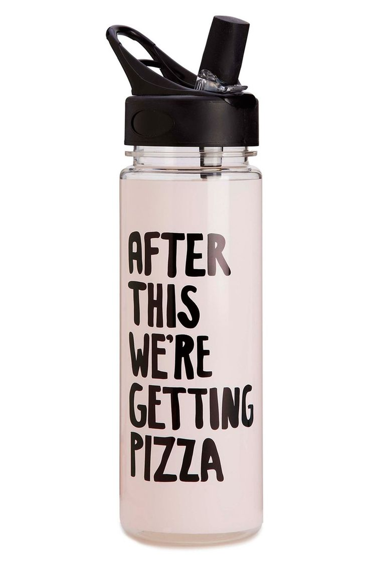 Think of it this way: You may need those post-workout calories to sustain you through the next sweat session. So while you think about loading up on cheesy carbs, keep hydrated with this water bottle that understands your true motivation for exercise. #pizzaforthewin