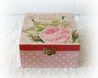 Caja de madera del té caja de té decoupage por CarmenHandCrafts