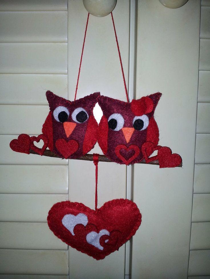Gufi in love - feltro, by Il Fantastico Mondo di Fio, 8,00 € su http://www.misshobby.com/it/oggetti/gufetti-in-love-2