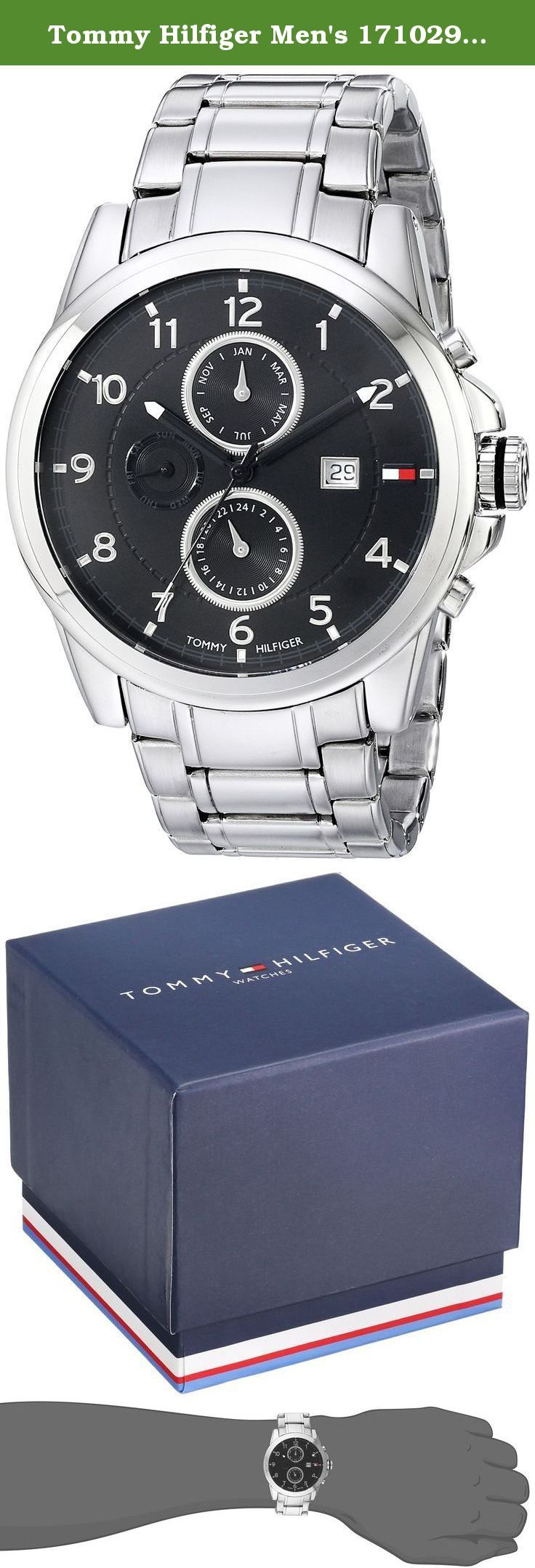 Tommy Hilfiger Men's 1710296 Classic Stainless Steel Black Subdial Watch. This Tommy Hilfiger watch focuses on classic sophistication. The Stainless steel case features a black multi function dial with day and date feature and silver Arabic numerals with second track around the perimeter. The dial is surrounded by a stainless steel bezel and a scratch resistant mineral crystal to complete the fuss free look. The Stainless steel bracelate features a classic link and a deployment closure....