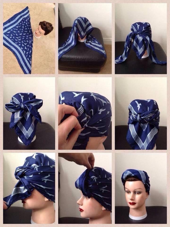 Hair scarf tutorial from Mrs Bee Vintage dressmaker ~