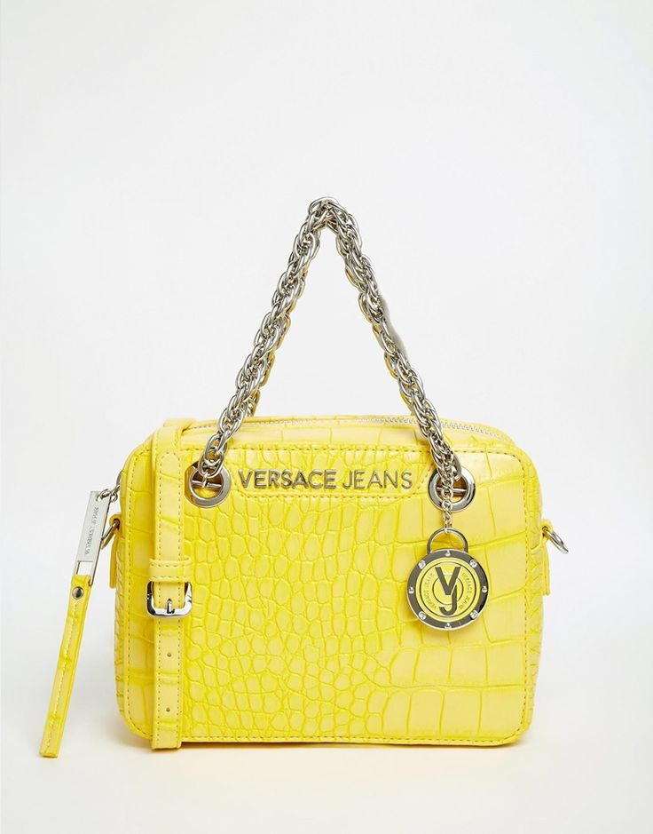 Versace Jeans Across Body Bag in Signiture Yellow Croc