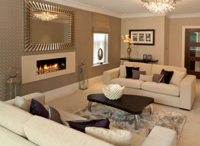 Cream Colored Living Rooms | Cream and taupe with a hint of chocolate looks stunning