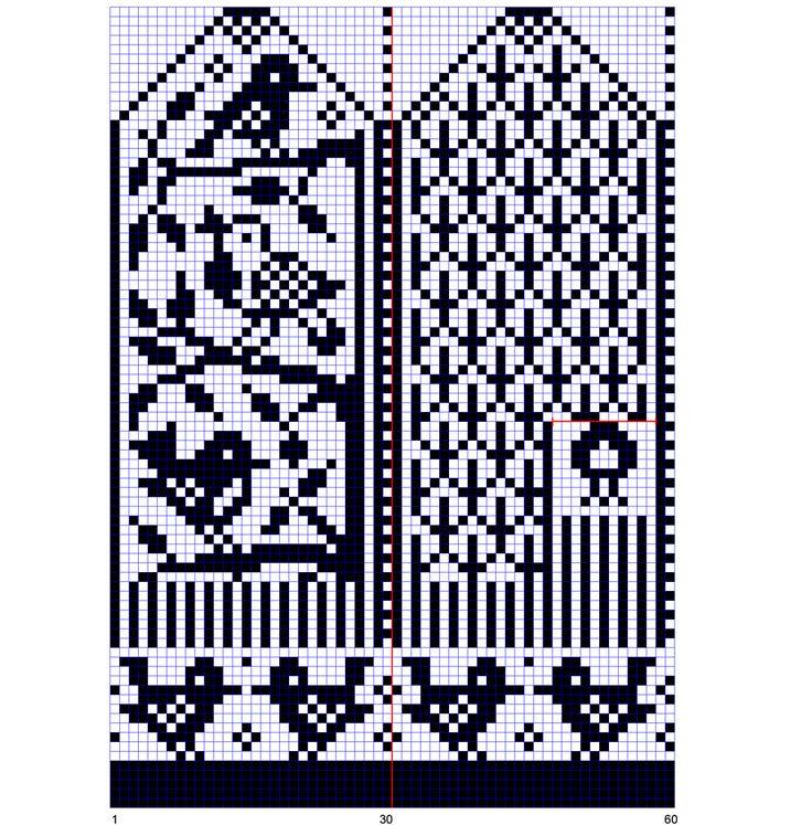 Ravelry: Bird Mitten chart pattern by Hanneke Sieben